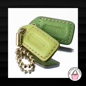 1.5″ COACH 2 pc GREEN & LIGHT GREEN LEATHER KEYFOB